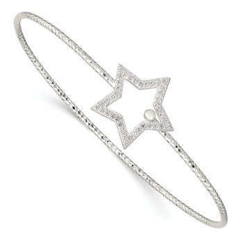 Sterling Silver Diamond Cut CZ Star Interlocking Bangle Bracelet