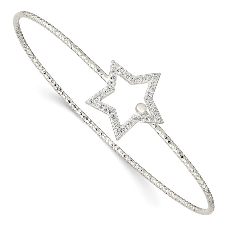 Quality Gold Sterling Silver Diamond Cut CZ Star Interlocking Bangle Bracelet
