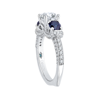 18K White Gold Euro Shank Round Diamond and Sapphire Three-Stone Engagement Ring (Semi-Mount)