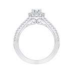Promezza 14K White Gold Oval Diamond Halo Engagement Ring with Split Shank