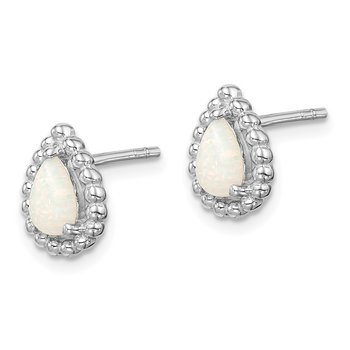 Sterling Silver Lab Created Opal Post Earrings