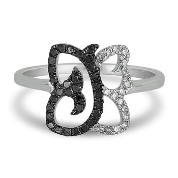 10K WG White and Black Diamond Butterfly Ring