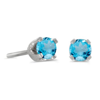 3 mm Petite Round Blue Topaz Stud Earrings in 14k White Gold