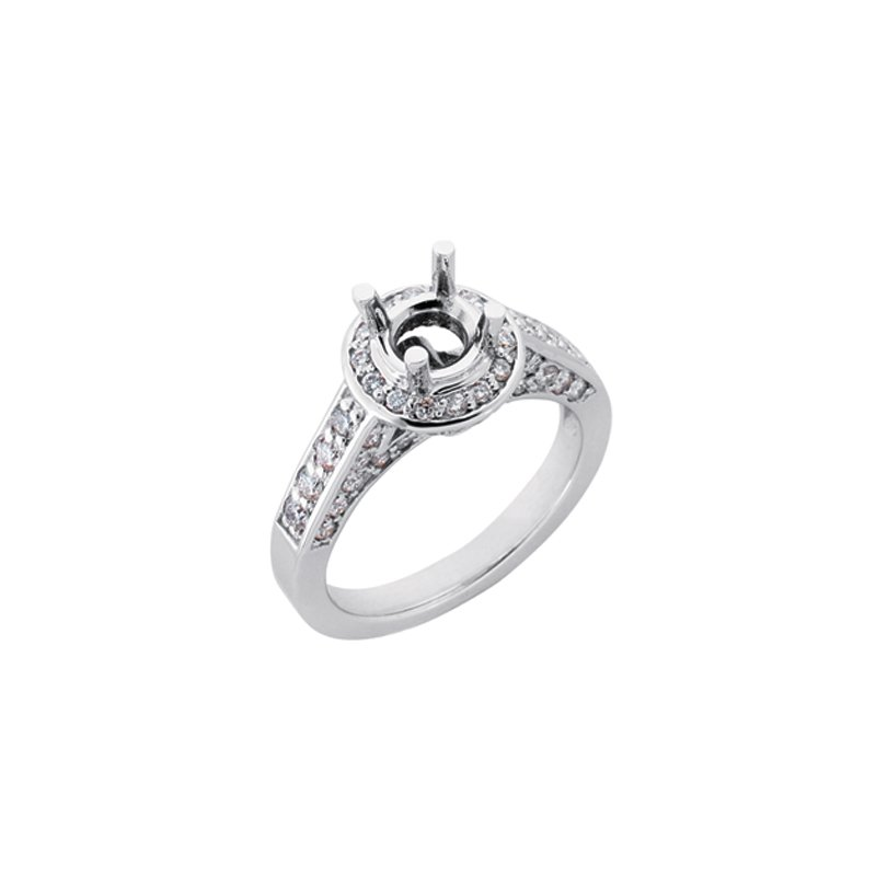MAZZARESE Bridal White Gold Halo Engagement Ring