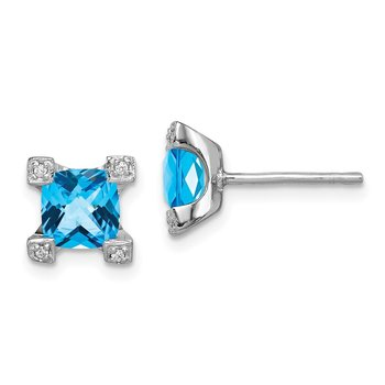 Sterling Silver Rhodium-plated Blue & Clear CZ Earrings