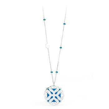 316L stainless steel, blue enamel and indicolite Swarovski® Elements