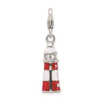 SS RH w/Lobster Clasp Red Enamel Swarovski Crystal Lighthouse Charm