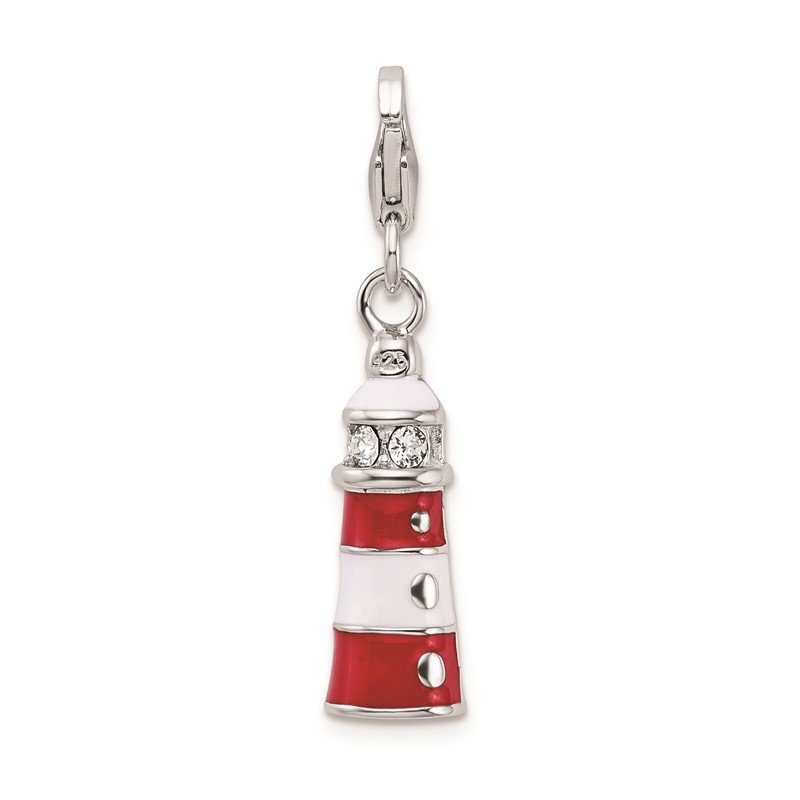 Quality Gold SS RH w/Lobster Clasp Red Enamel Swarovski Crystal Lighthouse Charm