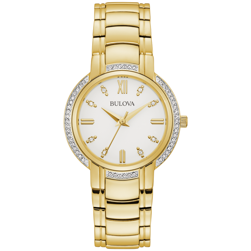 Bulova Crystal Accent Gold-Tone Bracelet Watch