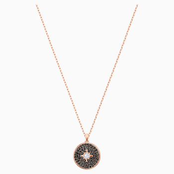 Locket Pendant, Black, Rose-gold tone plated