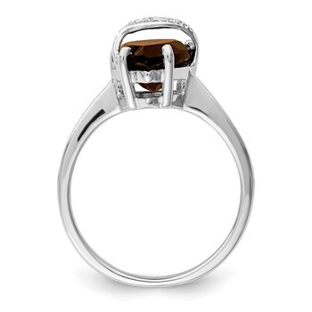 Sterling Silver Rhodium Pear Smoky Quartz & Diamond Ring