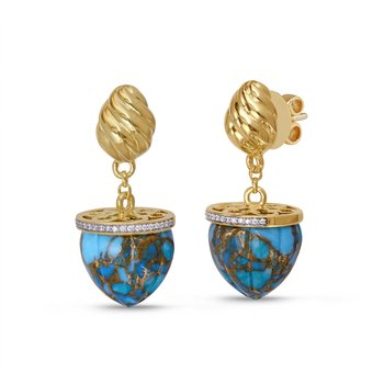 LuvMyJewelry Glory of the Sun Turquoise & Diamond Drop Earrings in Sterling Silver & 14 KT Yellow Gold Plating