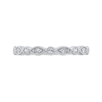 18K White Gold Round Half Run Diamond Wedding Band