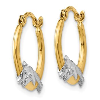 14K & Rhodium Dolphin Hoop Earrings
