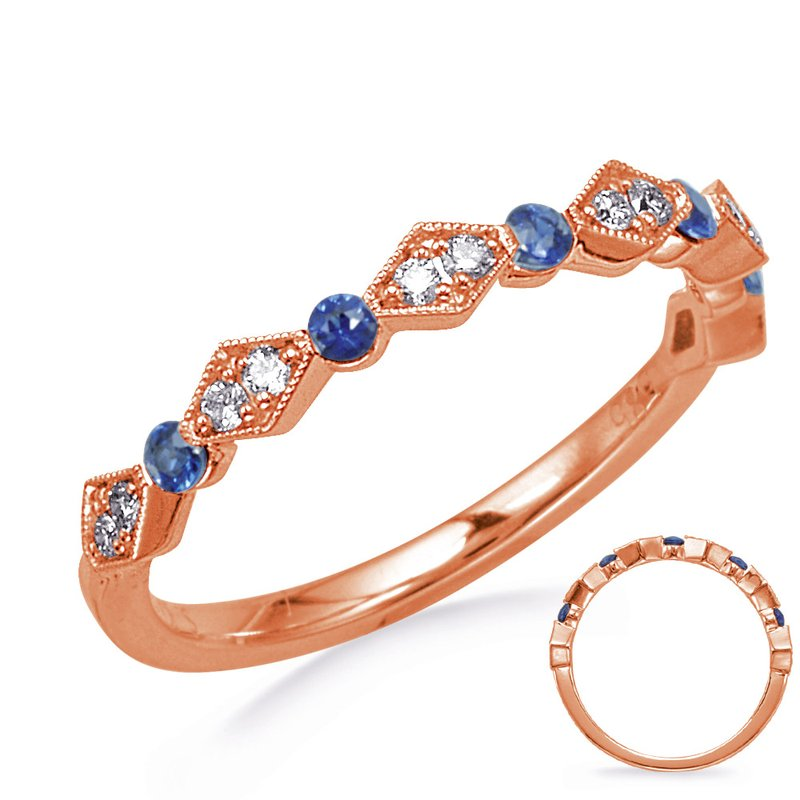S. Kashi  & Sons Rose Gold Sapphire & Diamond Ring