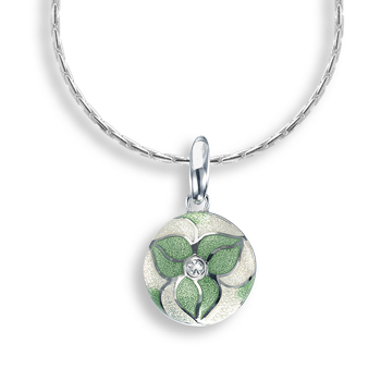 Sterling Silver Necklace-Trillium-Green-White Sapphire