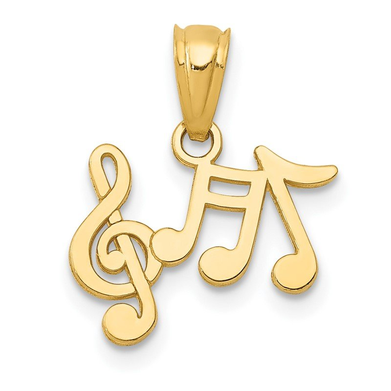 Quality Gold 14k Polished Music Notes Pendant