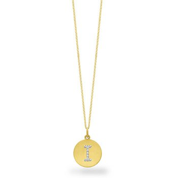 "Diamond Disc Initial ""I"" Necklace in 14k Yellow Gold with 10 Diamonds weighing .05ct tw."