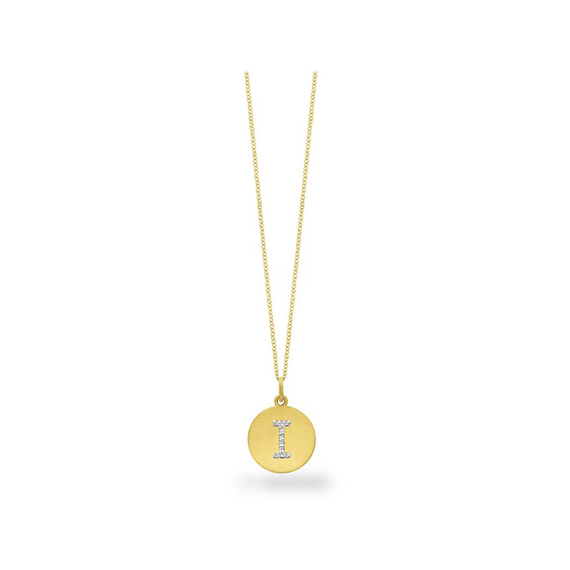 "KC Designs Diamond Disc Initial ""I"" Necklace in 14k Yellow Gold with 10 Diamonds weighing .05ct tw."