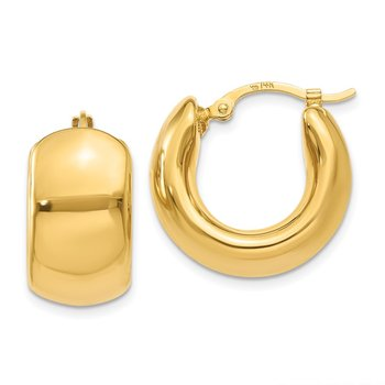 14k Wide Puffed Hoop Earrings