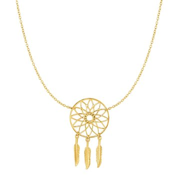 14K Gold Dreamcatcher Necklace