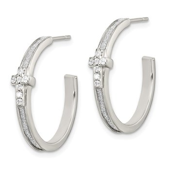 Sterling Silver Glitter Infused & CZ Cross Hoop Earrings