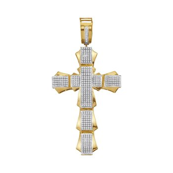 10kt Yellow Gold Mens Round Diamond Segmented Flared Cross Charm Pendant 1.00 Cttw
