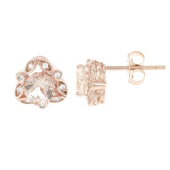 14k Rose Gold Morganite  and 1/10ct Diamond Earrings