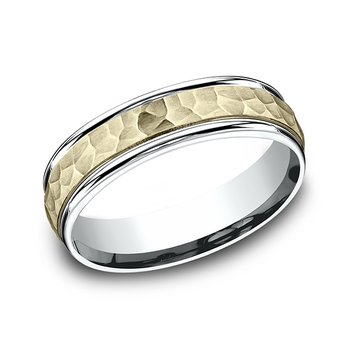 Two Tone Comfort-Fit Design Wedding Band