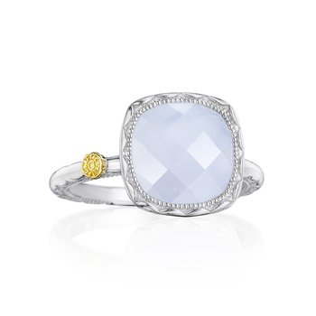 Cushion Gem Ring with Chalcedony
