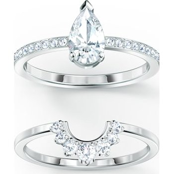 Attract  Pear Ring Set, White, Rhodium plated