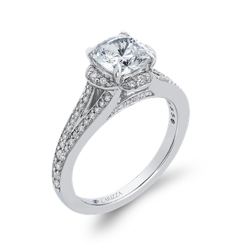 Cushion Diamond Cathedral Style Engagement Ring In 18K White Gold (Semi-Mount)