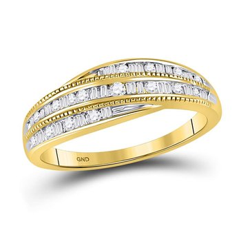10kt Yellow Gold Womens Round Baguette Diamond Band Ring 1/3 Cttw