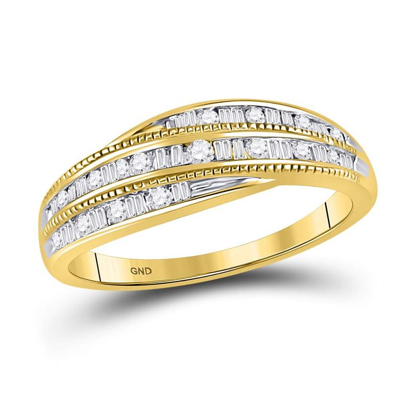 Gold-N-Diamonds, Inc. (Atlanta) 10kt Yellow Gold Womens Round Baguette Diamond Band Ring 1/3 Cttw