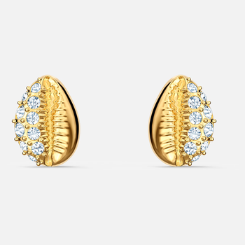 Shell Stud Pierced Earrings, White, Gold-tone plated