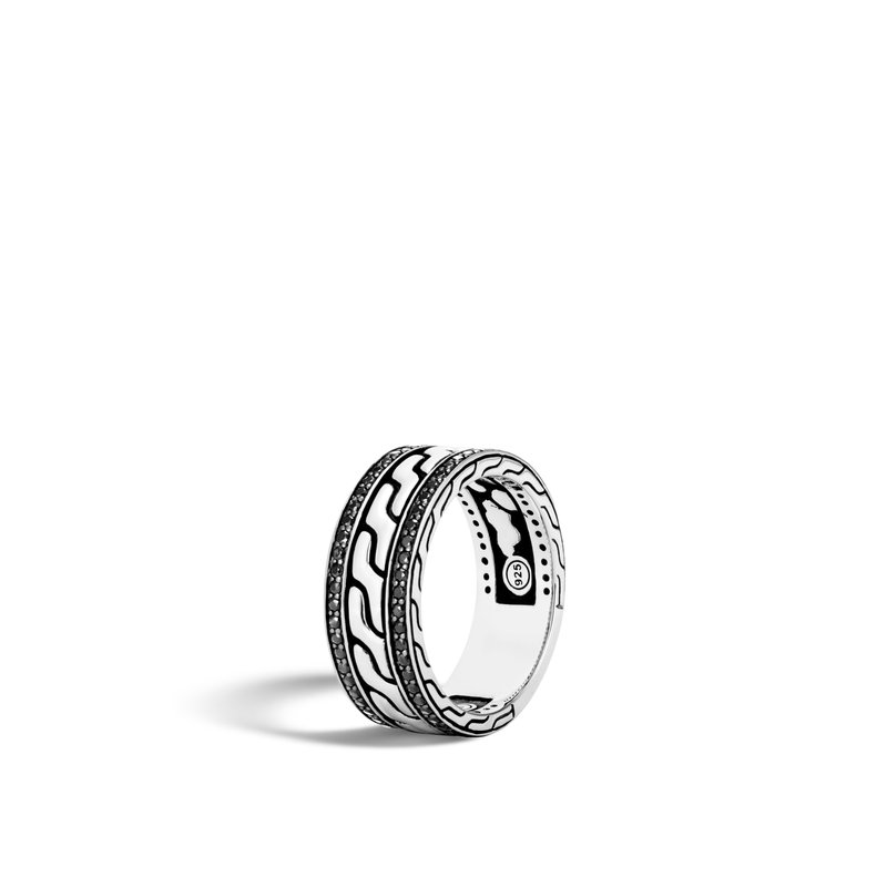 JOHN HARDY Classic Chain 9MM Band Ring in Silver with Gemstone