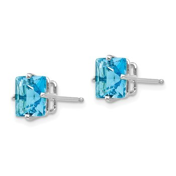14k White Gold 7mm Princess Cut Blue Topaz Earrings