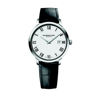 Men's Quartz Date Watch, 39 mm Steel on leather strap, white dial