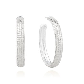 Medium Dome Hoop Earrings -  Silver
