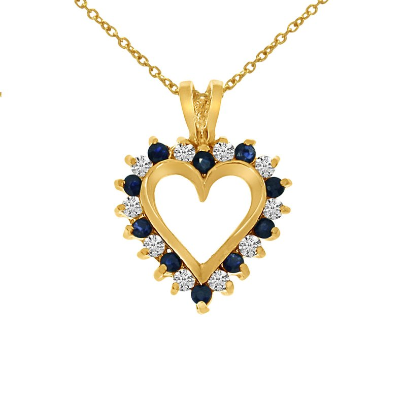 Color Merchants 14k Yellow Gold Sapphire and Diamond Heart Shaped Pendant