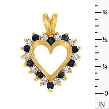 14k Yellow Gold Sapphire and Diamond Heart Shaped Pendant