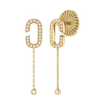 Celia C Drop Earrings in 14 KT Yellow Gold Vermeil on Sterling Silver