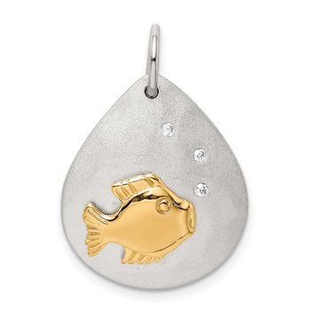Sterling Silver Gold-Tone CZ Fish Brushed Pendant