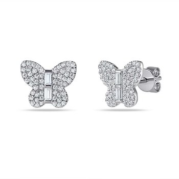 14K beautiful butterfly earrings with 112 round Diamonds 0.34CT & 4 baguette 0.11CT