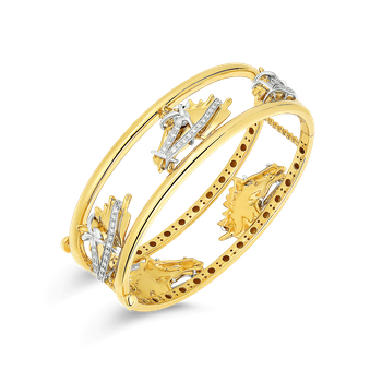 18Kt Gold Slim Cheval Bangle With Diamonds