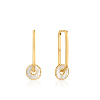 MOTHER OF PEARL DISC HOOP EARRINGS