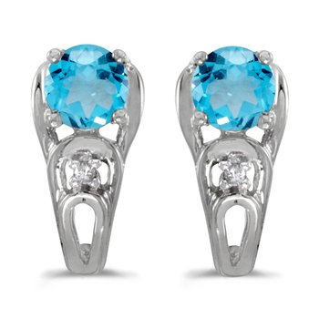 10k White Gold Round Blue Topaz And Diamond Earrings