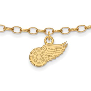Gold-Plated Sterling Silver Detroit Red Wings NHL Bracelet