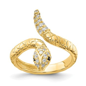 Cheryl M Gold-plated Sterling Silver Brilliant-cut CZ Snake Ring