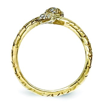 Cheryl M Sterling Silver Gold-plated Brilliant-cut CZ Snake Ring
